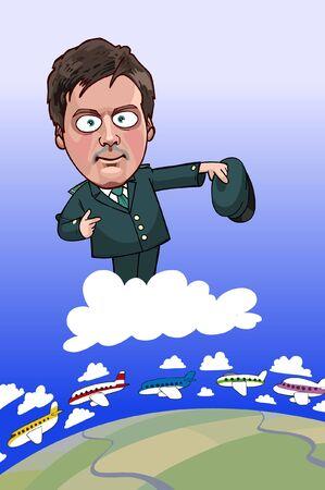 aduana: Hombre de dibujos animados en forma de avia oficial de aduanas