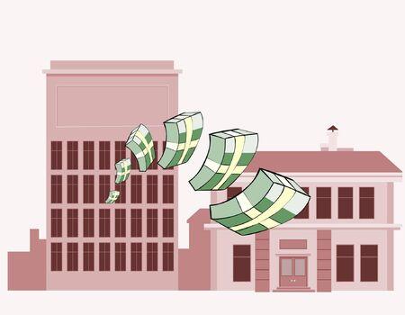 dinero volando: montones de dinero volando sobre un fondo de edificios