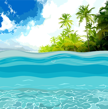 ocean view: view through the depths of the ocean shore with palm trees Illustration
