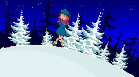 winter forest: cartoon girl froze in the winter forest Illustration