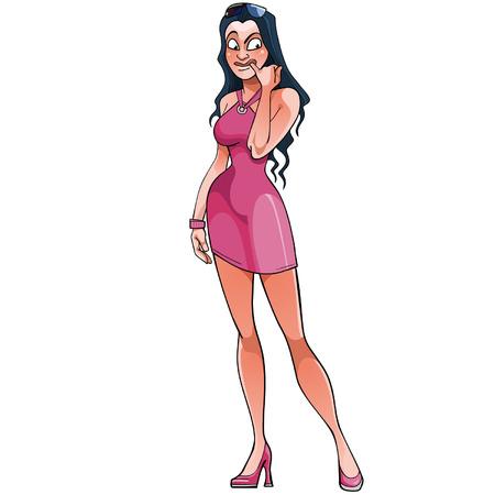 misunderstanding: cartoon girl standing and experiencing