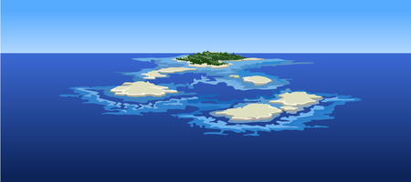 ocean view: cartoon islands in the ocean, the view from the top Illustration