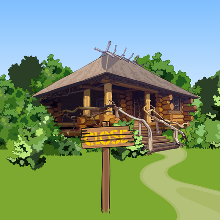 shack: cartoon wooden house in the woods with a sign