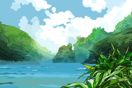 landscape beautiful bay among green mountains