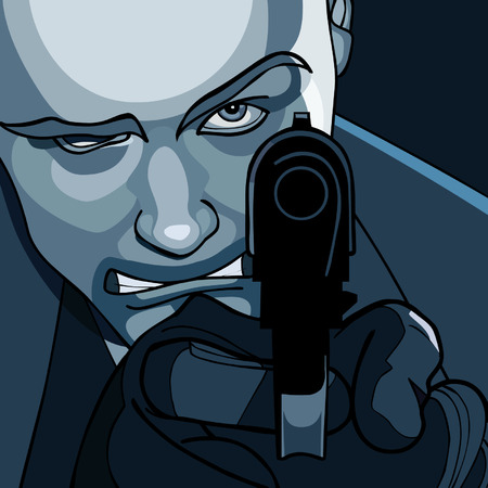 close range: man to aim at close range with a pistol