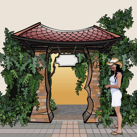 cartoon entrance with a roof with a signboard overgrown plants Ilustração