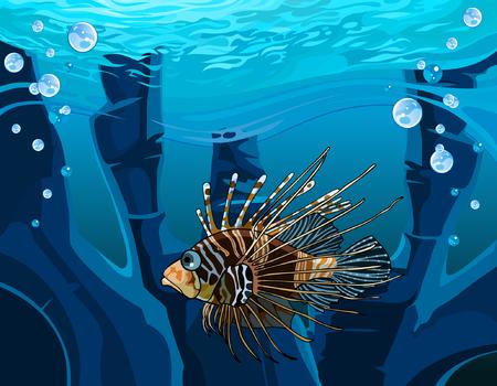 r image: cartoon fish - scorpion in the underwater reefs