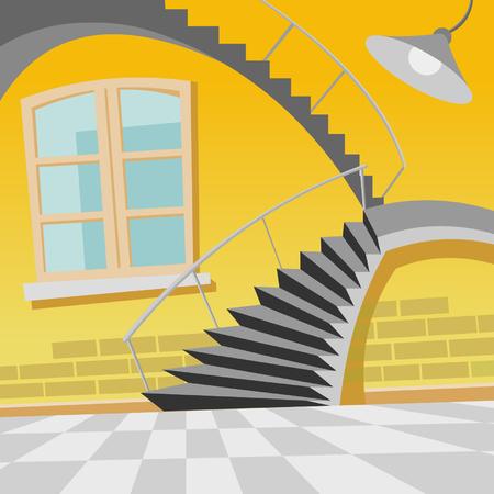 방에 만화 인테리어 계단 곡선
