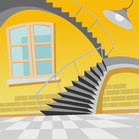cartoon interior staircase curve in the room Illustration