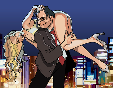 carries: cartoon man put a woman on his shoulder Illustration