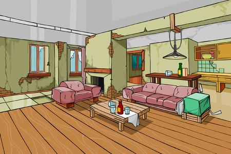 wine  shabby: cartoon old shabby apartment interior