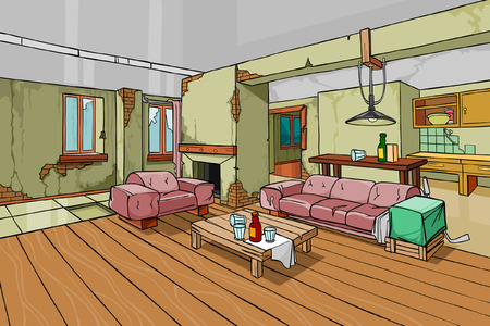 cartoon old shabby apartment interior