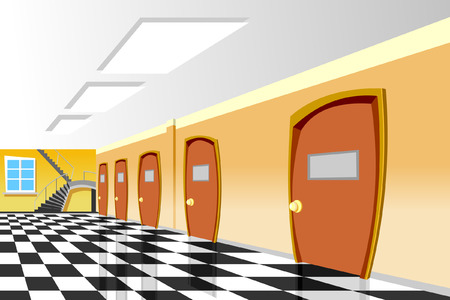 cartoon interior corridor curve School Illustration