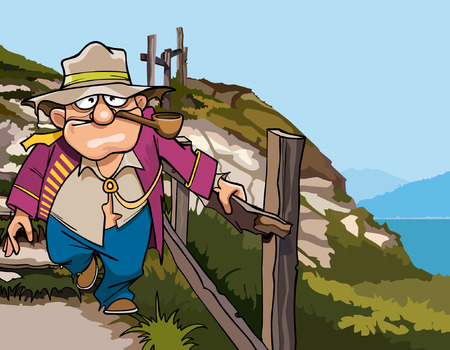 railings: cartoon pirate beggar down the stairs from the mountain