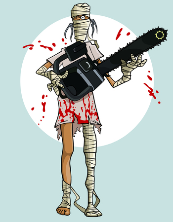 mummified: funny cartoon mummy with a chainsaw in the blood