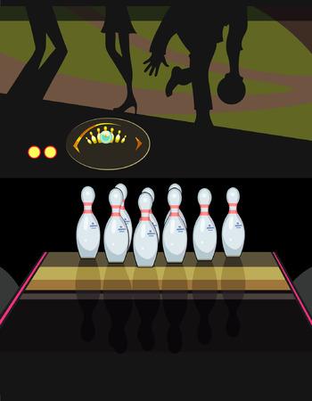 quilles: quilles dans un bowling Illustration