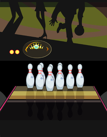skittles: skittles in a bowling alley Illustration
