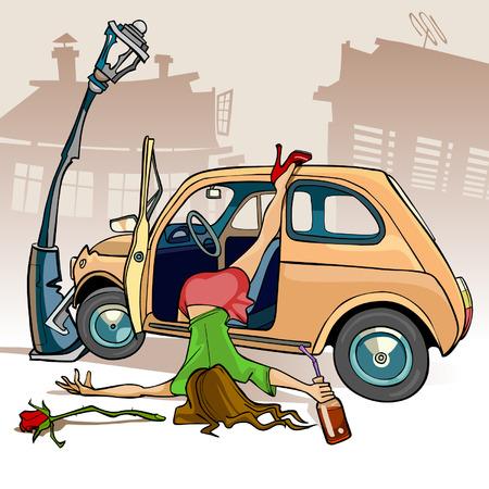 술 취한 여자의 만화 풍자 만화는 차에서 떨어졌다에게 가로등 기둥에 충돌