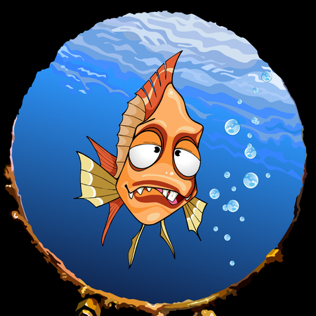 toothy: cartoon funny toothy fish under the water looking out the window