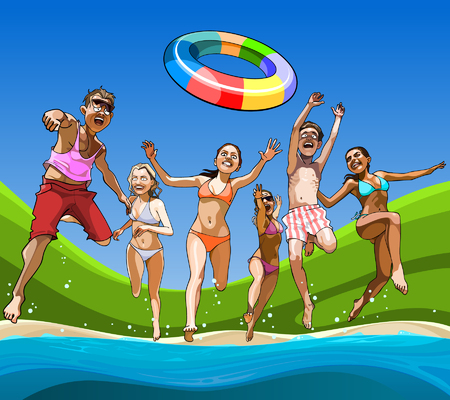 cartoon happy guys and girls having fun running on the beach into the water