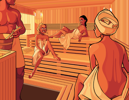 Interior of the steam room in the sauna with three cartoon girls
