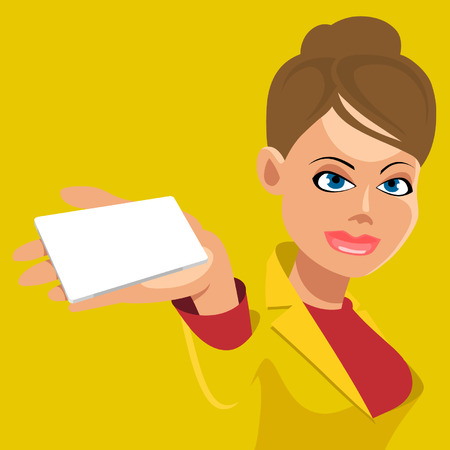 cartoon girl holding an empty nameplate