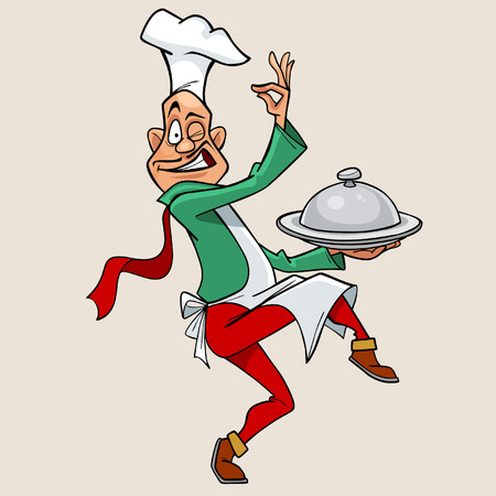 funny cartoon chef holding meal and walks Vector
