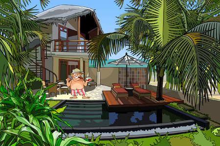 cartoon man in a villa with a pool