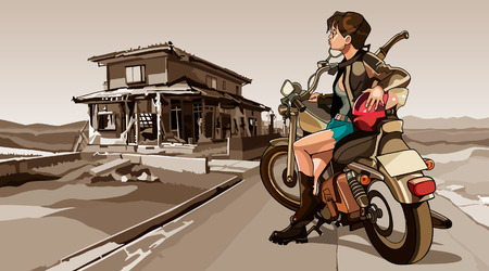 ruined house: girl with a motorcycle on the ruined building background