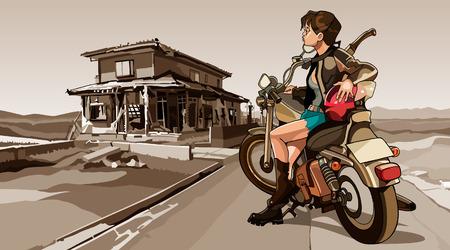 motorrad frau: M�dchen mit einem Motorrad auf der zerst�rten Geb�ude Hintergrund Illustration