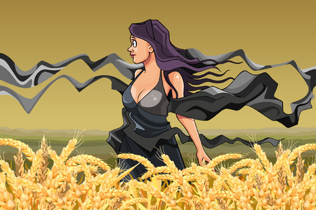sciarpe: ragazza con sciarpe svolazzanti nel campo di grano maturo