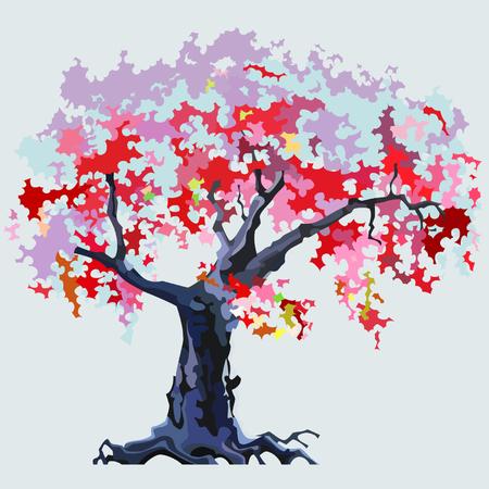 flowering: cartoon pink flowering tree