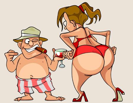 Cartoon Frau mit großen Esel in einem Badeanzug und Mann in Shorts