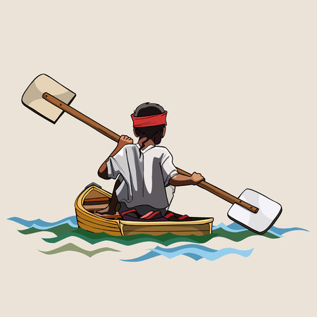 bilateral: man in a canoe with paddle bilateral Illustration