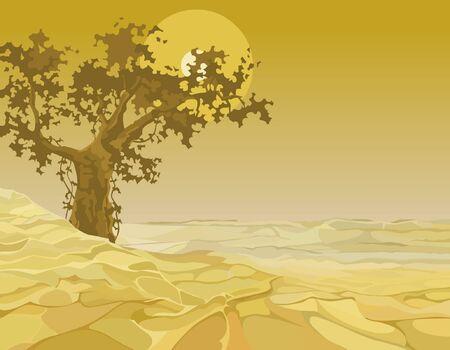 yellow landscape: yellow landscape tree in the desert Illustration