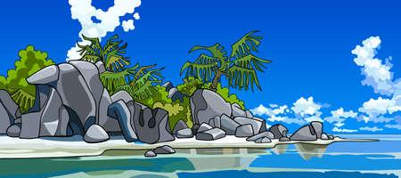 panoramic beach: cartoon beautiful tropical island Illustration