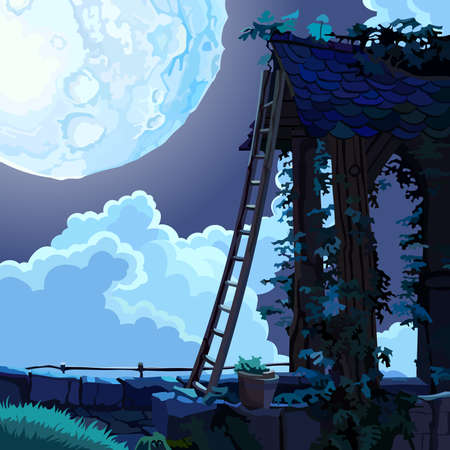 moonlit: cartoon fairy house in the sky on a moonlit night