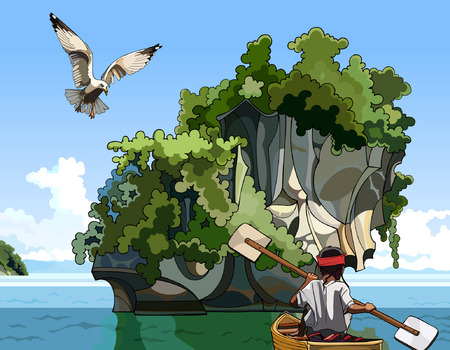 near: cartoon landscape fisherman on a boat sailing near the island in the sea
