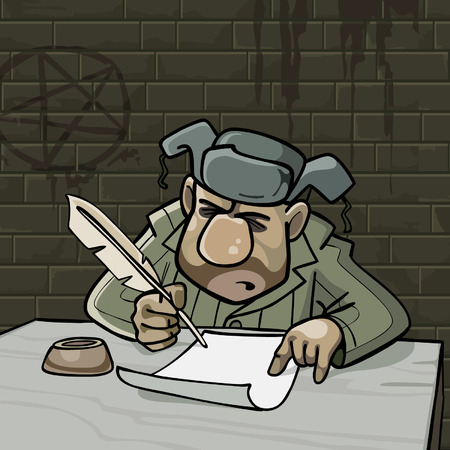 padded: cartoon male inmate writes a pen on paper