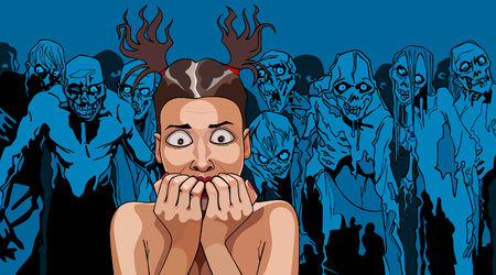 cartoon frightened girl in the crowd of zombies Vector