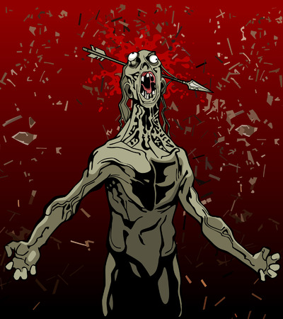 screaming head: cartoon screaming zombie with an arrow in the head