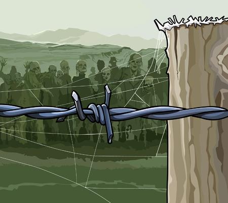 cartoon zombie crowd behind barbed wire
