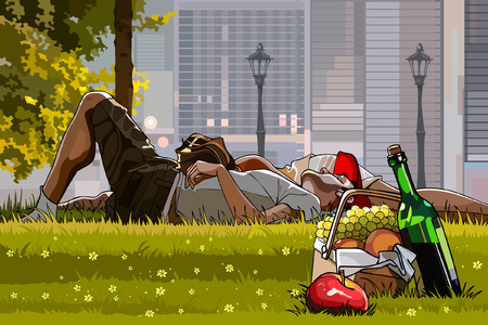 Man and woman relaxing on the grass next to picnic basket Vector
