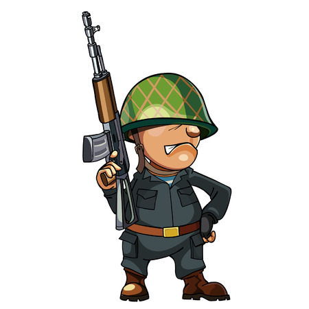 persuasion: cartoon man soldier in a helmet with a gun Illustration