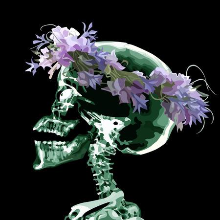 crâne de bande dessinée portant une couronne de fleurs
