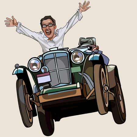 rejoices: man on the retro car enthusiastically rejoices Illustration