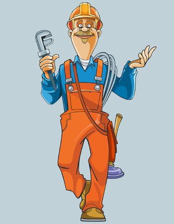 ingeniero caricatura: fontanero de la historieta en uniforme viene con herramientas