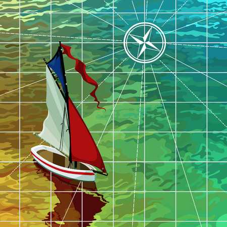 sails: yacht sails on the sea, the top view on the map Illustration