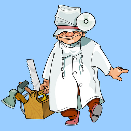 cartoon caricature health worker with tools Иллюстрация