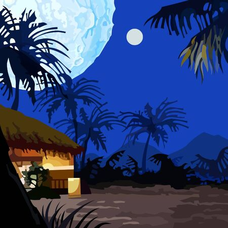 tropics: cartoon fairy moonlit night in the tropics Illustration
